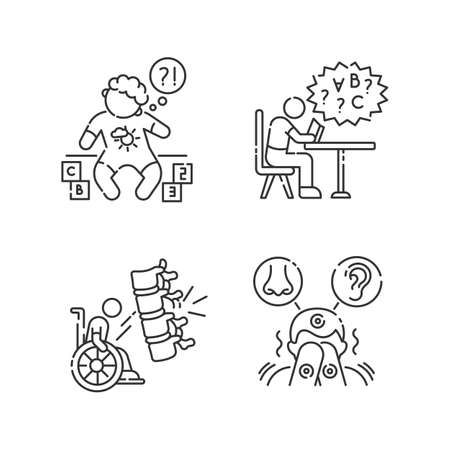 Chronic disease linear icons set. Child with disability. Difficulty with reading from dyslexia. Customizable thin line contour symbols. Isolated vector outline illustrations. Editable stroke