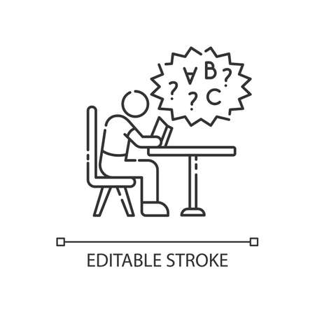 Dyslexia linear icon. Difficulty with reading book. Chronic disorder for intelligence. Thin line customizable illustration. Contour symbol. Vector isolated outline drawing. Editable stroke