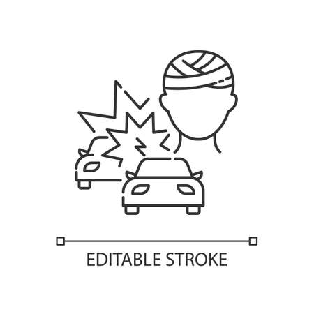 Acquired brain injury linear icon. Head injury from car accident. Trauma from auto collision. Thin line customizable illustration. Contour symbol. Vector isolated outline drawing. Editable stroke