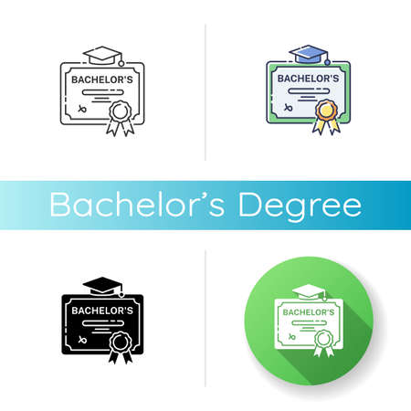 Bachelors degree icon. Linear black and RGB color styles. Successful university graduation document. Higher education. Student diploma, academic certificate Isolated vector illustrations