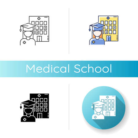 Medical school icon. Linear black and RGB color styles. Vocational education, professional university. Doctor, nurse training courses. Medical academy graduate Isolated vector illustrations