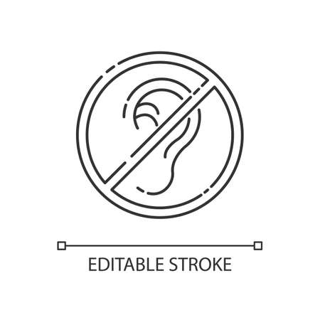 Deafness linear icon. Impaired hearing. Difficulty with communication. Deaf person. Thin line customizable illustration. Contour symbol. Vector isolated outline drawing. Editable stroke 向量圖像