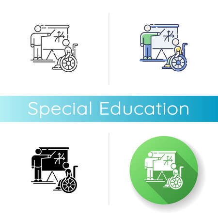 Special education icon. Linear black and RGB color styles. Inclusive education. Conditions for disabled people. Student in wheelchair and personal teacher Isolated vector illustrations