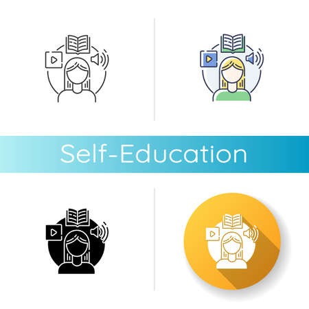 Self education icon. Linear black and RGB color styles. Skills development, personal growth. Online education, internet training courses. Student studies. Isolated vector illustrations Ilustração