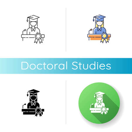 Doctoral studies icon. Linear black and RGB color styles. University graduation, academic achievement. Obtaining doctors degree. PhD student, successful graduate Isolated vector illustrations Vettoriali