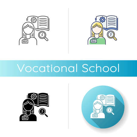 Vocational school icon. Linear black and RGB color styles. Professional skills development, specialty education. Potential workers training courses. Student Isolated vector illustrations