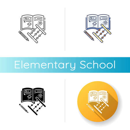 Elementary school icon. Linear black and RGB color styles. Primary education, basic knowledge. Junior year student equipment. Copybook, pencil and abacus Isolated vector illustrations