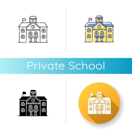 Private school icon. Linear black and RGB color styles. Prestigious educational establishment, independent academic institution. Exclusive education system. Isolated vector illustrationss 일러스트