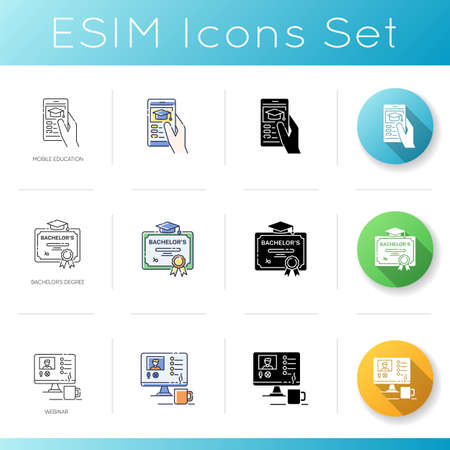 Academic education icons set. Linear, black and RGB color styles. Public and private school services. mobile education, bachelors degree and online webinar. Isolated vector illustrations