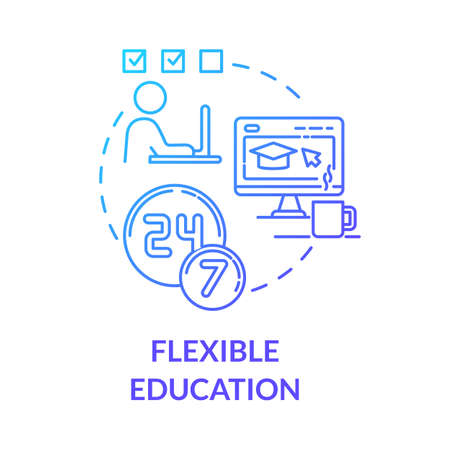 Flexible education concept icon. Remote learning. Online universities. E learning and teaching. Homeschooling idea thin line illustration. Vector isolated outline RGB color drawing Vecteurs