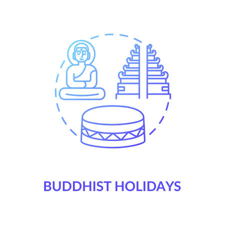 Buddhist holidays concept icon. Religious indian festivals celebration. Buddhism idea thin line illustration. Buddha, temple and drum vector isolated outline RGB color drawing