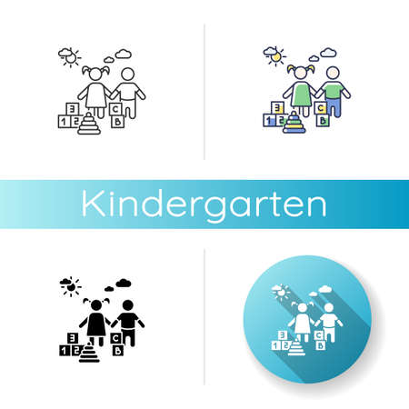Kindergarten icon. Linear black and RGB color styles. Day care center, institution for little children. Preschool education. Girl and boy playing with toys Isolated vector illustrations