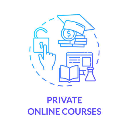 Private online courses concept icon. E learning and teaching. Online education. Digital classrooms. Remote tutoring idea thin line illustration. Vector isolated outline RGB color drawing