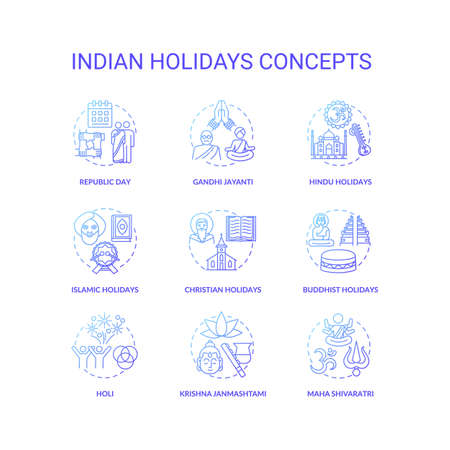 Indian holidays concept icons set. India customs and traditions idea thin line RGB color illustrations. National and religious festivals. Vector isolated outline drawings
