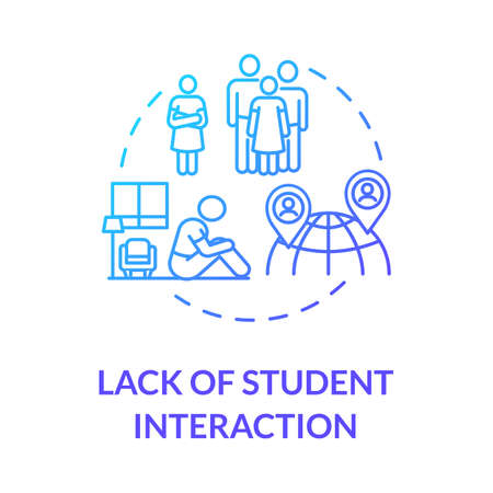Lack of student interaction concept icon. Socialization difficulties. Online education disadvantages. Social climate idea thin line illustration. Vector isolated outline RGB color drawing