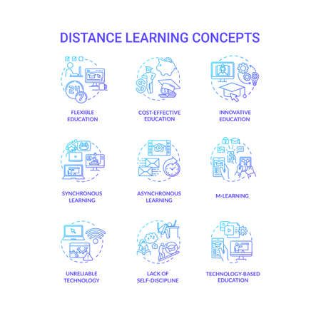 Distance learning concept icons set. Remote classes. Cost effective education. M learning and innovative education idea thin line RGB color illustrations. Vector isolated outline drawings