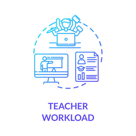 Teacher workload concept icon. Remote education process. Teaching and elearning. Web conferencing. Multitasking idea thin line illustration. Vector isolated outline RGB color drawing