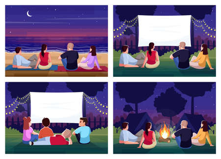 Weekend recreation semi flat vector illustration set. Lounge and rest for crowd. Watch film together. Look at sunset on beach. Friends outside 2D cartoon characters for commercial use collection Vettoriali