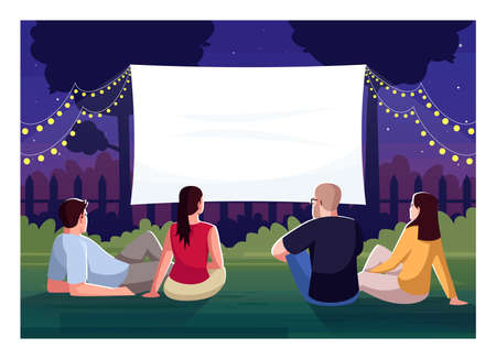 Backyard cinema watching semi flat vector illustration. Friends lounge in yard together. Large blank screen for weekend movie night. People outside 2D cartoon characters for commercial use Vettoriali