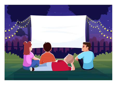 Backyard cinema for kids semi flat vector illustration. Teenagers watch film together. Large blank screen for movie night. Children outside 2D cartoon characters for commercial use Vettoriali