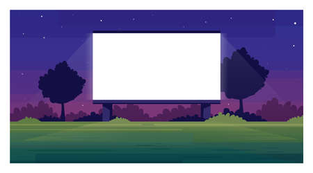 Open air cinema screen semi flat vector illustration. Empty place for watching film outside. Public weekend entertainment space. Outdoors movie night 2D cartoon scene for commercial use