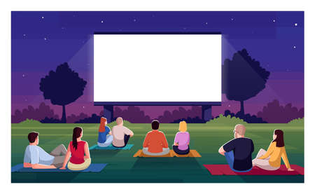 Open air cinema semi flat vector illustration. People sit on grass and watch film. Movie night outdoors in public park. Couples on date. Festival crowd 2D cartoon characters for commercial use