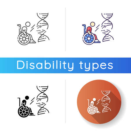 Genetic conditions icon. Handicapped man with chronic disease. Medical problem from trauma. Paralyzed person. Damaged DNA helix. Linear black and RGB color styles. Isolated vector illustrations Illusztráció