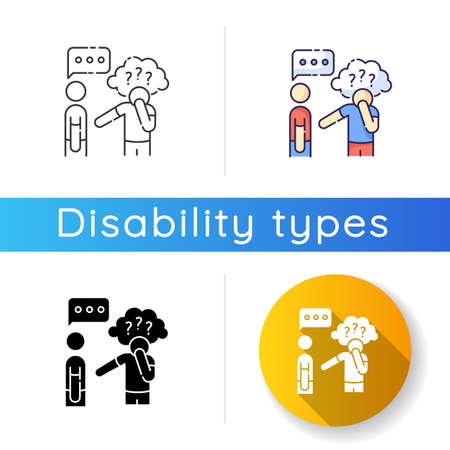 Asperger syndrome icon. Difficulty with communication. Social anxiety. Autistic spectrum. Speech impairment. Interaction problem. Linear black and RGB color styles. Isolated vector illustrations