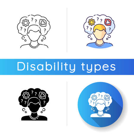 Intellectual disability icon. Person with memory loss. Think in confusion. Anxious question. Chronic disease. Mental problem. Linear black and RGB color styles. Isolated vector illustrations