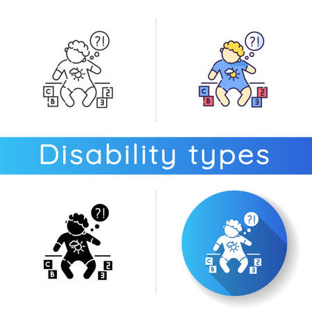 Developmental delay icon. Child with difficulty of learning. Cognitive ability problem. Baby with genetic chronic disability. Linear black and RGB color styles. Isolated vector illustrations Illusztráció