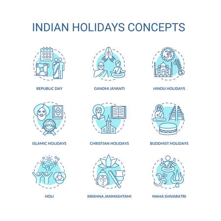 Indian holidays concept icons set. India customs and traditions idea thin line RGB color illustrations. National and religious festivals. Vector isolated outline drawings. Editable stroke 向量圖像