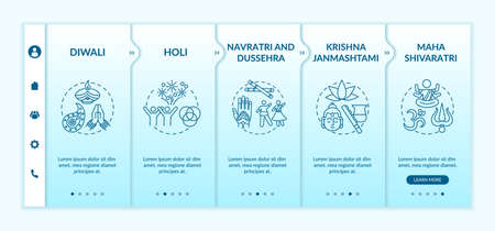 Top Hindu festivals onboarding vector template. Krishna Janmashtami. Navratri, and Dussehra. Responsive mobile website with icons. Webpage walkthrough step screens. RGB color concept
