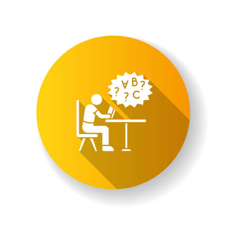 Dyslexia yellow flat design long shadow glyph icon. Difficulty with reading book. Child with problem in education. Struggle with studying. Inclusive school. Silhouette RGB color illustration Illusztráció
