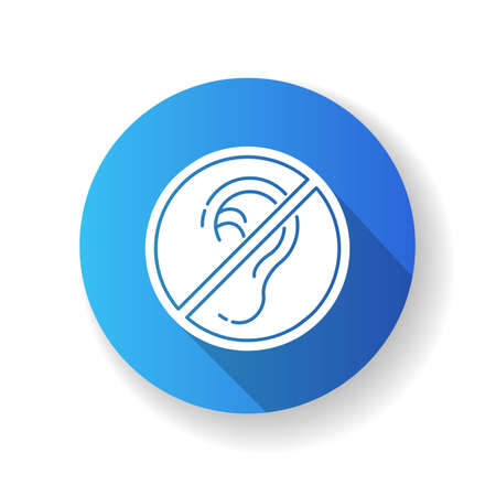 Deafness blue flat design long shadow glyph icon. Impaired hearing. Deaf person. Health care problem. Loss of hearing. Medical condition. Avoid noise. Silhouette RGB color illustration