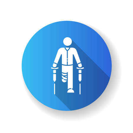 Leg amputee blue flat design long shadow glyph icon. Disabled man with crutches. Rehabilitation for handicapped person. Recovery from injury. Mobility difficulty. Silhouette RGB color illustration