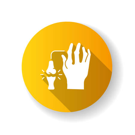 Rheumatoid arthritis yellow flat design long shadow glyph icon. Pathological disease. Damaged bones in hand. Impact of chronic disorder for human arm. Silhouette RGB color illustration