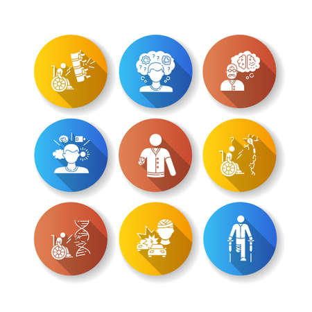 Patient with disability flat design long shadow glyph icons set. Handicapped man. Paralyzed person in wheelchair. Memory loss from Brain injury. Chronic illness. Silhouette RGB color illustration