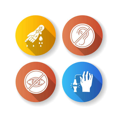 Health care problem flat design long shadow glyph icons set. Bleeding from hemophilia. Arm injury. First aid for cut vein. Sensory impairment. Rheumatoid arthritis. Silhouette RGB color illustration Illusztráció