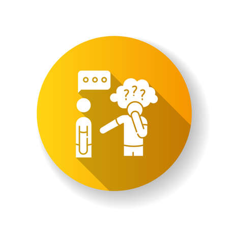 Asperger syndrome yellow flat design long shadow glyph icon. Difficulty with communication. Social anxiety. Man with disorder. Speech impairment. Interaction problem. Silhouette RGB color illustration
