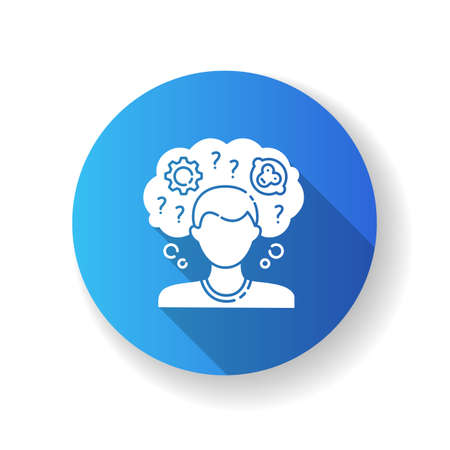 Intellectual disability blue flat design long shadow glyph icon. Person with short term memory loss. Think in confusion. Chronic disease. Mental problem. Silhouette RGB color illustration Illusztráció