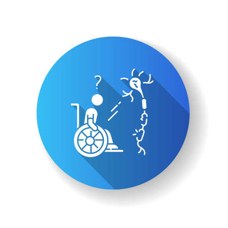 Multiple sclerosis blue flat design long shadow glyph icon. Handicapped man in wheelchair. Neurology problem. Trauma treatment. Patient with spine injury. Silhouette RGB color illustration