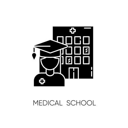 Medical school black glyph icon. Vocational education, professional university silhouette symbol on white space. Doctor, nurse training courses. Medical academy graduate vector isolated illustration