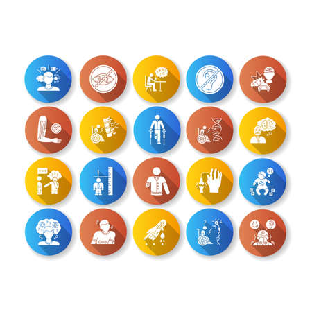 Disability types flat design long shadow glyph icons set. Blindness and deafness. Mental problem. Dwarfism, sensory hypersensitivity. Leg and hand amputee. Silhouette RGB color illustration Illusztráció