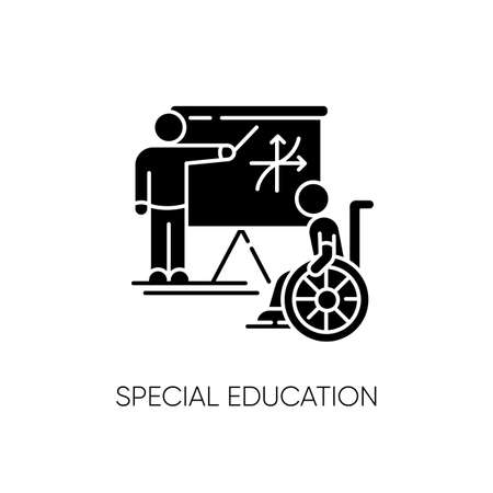 Special education black glyph icon. Inclusive education silhouette symbol on white space. Conditions for disabled people. Student in wheelchair and personal teacher vector isolated illustration