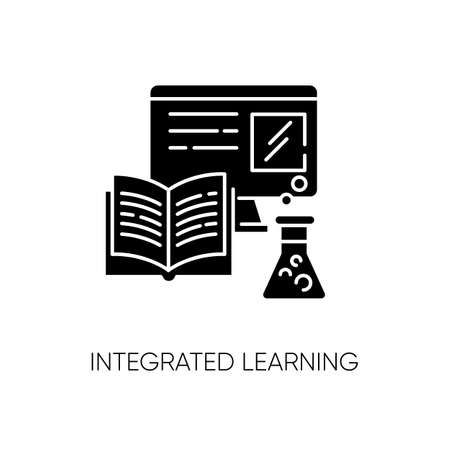 Integrated learning black glyph icon. Practical education, lessons with demonstration silhouette symbol on white space. School textbook, computer and laboratory equipment vector isolated illustration