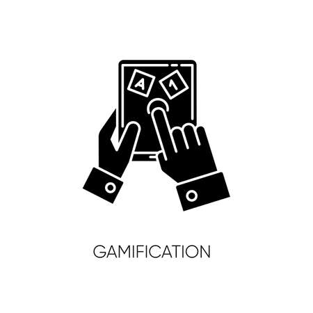 Gamification black glyph icon. Entertaining education silhouette symbol on white space. Learning and playing, marking studying process more interesting. Educational game. Vector isolated illustration