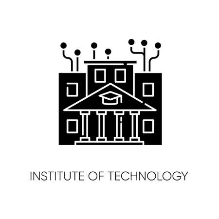Institute of technology black glyph icon. Professional IT college, higher education silhouette symbol on white space. Computer programming academy, coding courses. Vector isolated illustration