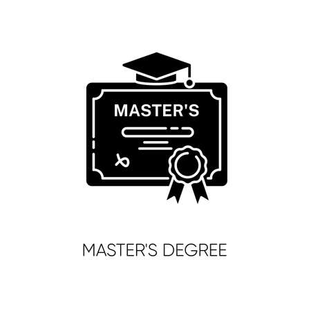 Masters degree black glyph icon. University accomplishment, college graduation. Higher education silhouette symbol on white space. Graduation certificate with mortar board vector isolated illustration