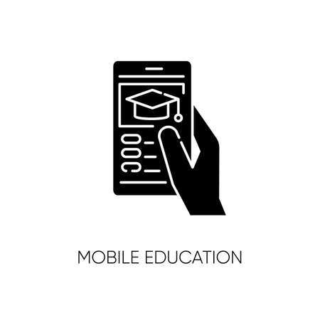 Mobile education black glyph icon. Remote internet school, online training classes. E learning, BYOD policy silhouette symbol on white space. Student holding smartphone vector isolated illustration