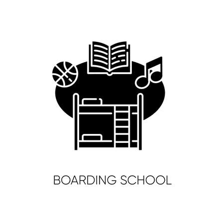 Boarding school black glyph icon. Educational institution with extracurricular activities and accommodation for students. College dorm silhouette symbol on white space. Vector isolated illustration